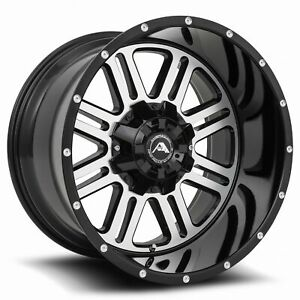 20x12 44 American Off Road 5x114 3 A106 Black Machined Rims Set
