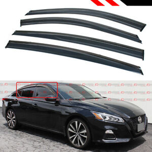 For 2019 20 Nissan Altima Black Trim Clip on Window Visor Rain Guard Deflector