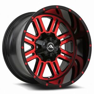 20x14 76 American Off Road 8x6 5 A106 Black Machined Red Tint Rims Set