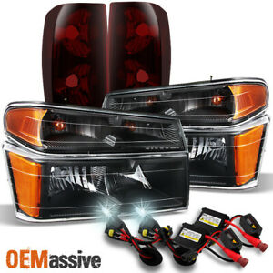 Fit 04 12 Chevy Colorado Canyon Black Headlights dark Red Tail Lights 6000k Hid