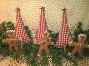 Country Christmas Handmade Fabric 3 Gingerbread 3 Trees Farmhouse Home Decor
