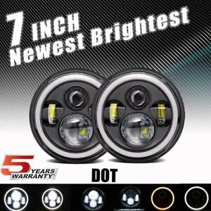 Dot 7 Inch 280w Cree Led Headlight Halo Drl Angel Eyes For Jeep Hummer H1 H2 H3