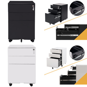 Office File Documents Cabinet 3 Drawers 5 Casters Lockable Storage Furniture