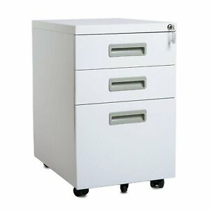 Mobile Office File Cabinet Documents Storage 3 Drawer 5 Casters Lockable