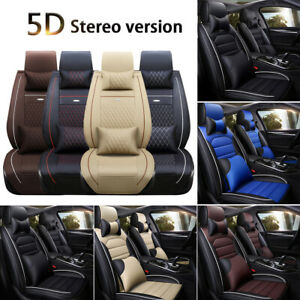 Deluxe Leather 5 Seats Full Set Auto Car Seat Cover With Pillows Full Surrounded