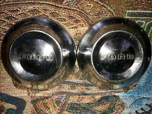 Vintage Pair Of Ford 10 1 2 Inch Dog Dish Hubcaps 1952 1954 52 53 54