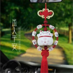 Car Auto Rearview Mirror Pendant Ornaments Lucky Cat Ceramic Car Accessories Red