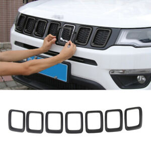 Car Front Grill Decoration Cover Trim For Jeep Compass 2017 2021 Accessory Black