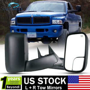 Power Heated Flip Up Tow Mirrors For 1998 2001 Dodge Ram 1500 2500 3500