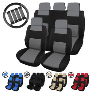 Universal Car Front Back Seat Covers W steering Wheel Cover And Belt Pads Set
