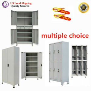 Office Cabinet With 2 6 Doors Steel Gray File Mobile Archive With Locking System