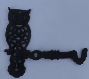 Vintage Antique Cast Iron Swivel Owl Wall Hook Hanger
