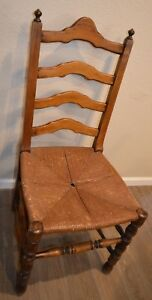 Vintage French Country Ladder Back Rush Seat Dining Chair