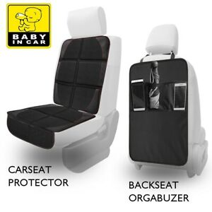 2 In 1 Car Seat Protector Kick Mat Auto Seat Back Protector W organizer Pocket