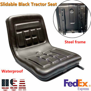 Lawn Slidable Tractor Seat Garden Mower With Backrest Steel Pvc Adjustable Black