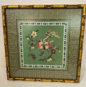 Vintage Asian Chinese Embroidery Silk Bird Flowers Textile Tapestry Framed Art