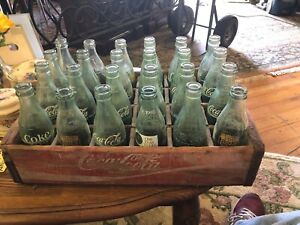 Vintage Coca Cola Wood Crate With 24 Bottles