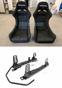 Pair 2 Seats Bride Zieg Black Cloth Low Max Jdm Seat Rails Wrx 02 07