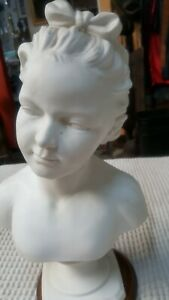 Antique Vtg 18 Bust Victorian Lady Woman Sculpture Ceramic Statue With Base