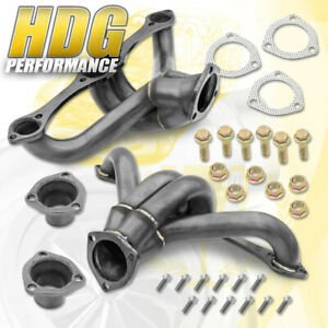 For 1955 Chevrolet Sbc V8 283 400 Shorty Exhaust Header Stainless Steel Black