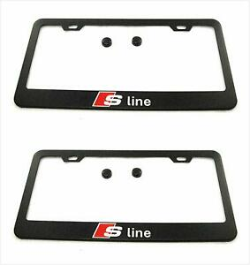 Sline License Plate Frame Cover Holder Metal With Screws Caps For All Audi