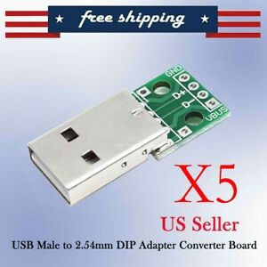 5 Pcs Male Usb To Dip Adapter Converters 4pin For 2 54mm Diy Pcb Board