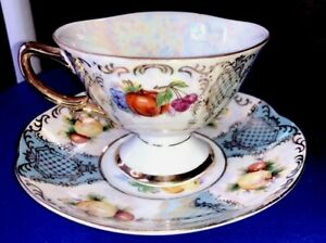 Vintage Iridescent Shafford China Tea Cup Saucer Gold Trim Pumpkin Fruit Japan