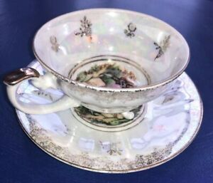 Vintage Footed Shafford China Tea Cup Gold Trim Iridescent Serenade Japan