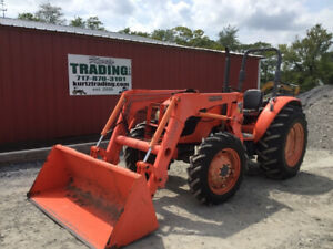 2008 Kubota M7040 4x4 Utility Tractor W Loader Hydraulic Shuttle New Tires