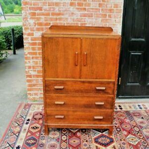 English Tiger Oak Wood Antique Cabinet 3 Drawer 2 Door Chest Small Dresser