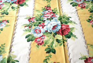Vintage Floral Bouquet Wide Stripe Faille Fabric Yellow Pink Blue Red Green