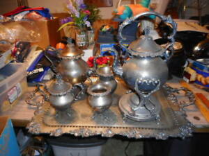 Silver Service 1940 S Tea Coffee Set Of 6 Estate Sale 34 Lbs Stored 50 Yrs