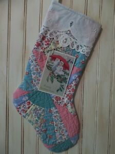 An Early Christmas Offering Primitive Handmade Antique Cutter Quilt Stocking