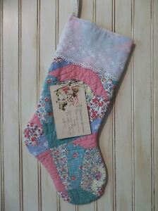 Christmas In July Prim Handmade Antique Cutter Quilt Stocking With Postcard