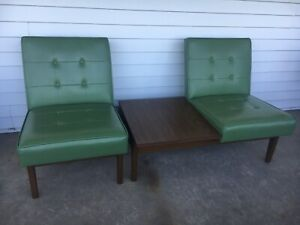 Vintage Mcm Mid Century Modern Paoli 2 Chairs With Attached End Table Set
