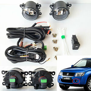 Front Driving Fog Light Kit Fit 06 14 Suzuki Grand Vitara Clear Lens Switch Wire