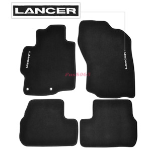 Fits 08 17 Mitsubishi Lancer Floor Mats Front rear Nylon Black W Embrodery