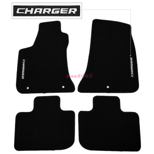 Fits 11 17 Dodge Charger Black Nylon Floor Mats Carpets W Charger Embroidery