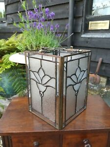 Antique Brass And Leaded Glass Arts And Crafts Lamp Shade