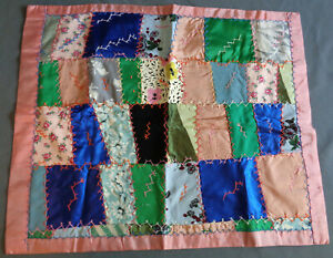 Antique Vintage Baby Doll Crazy Quilt Hand Stitched Embroidered 22 X 18