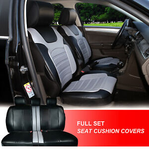 Full Sets Leather Like Auto Car Seat Cushion Covers For Toyota 80255 Bk gray