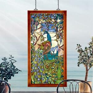 Design Toscano Peacock Wisteria Tiffany Style Stained Glass Window
