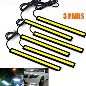 Us 3pair 12v Led Strip Drl Daytime Running Light Fog Cob Car Lamp Driving White