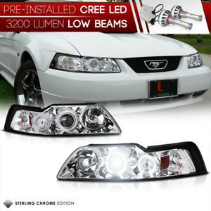 Built In Led Low Beam 1999 2004 Ford Mustang Mach Gt Halo Ring Headlights Set