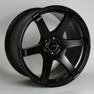 18x8 45 Enkei T6s 5x114 3 Black Rims Fits Veloster Mazda Speed 3