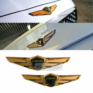 Wings Logo Gold Emblem Front Rear Trunk 2p For Hyundai 2017 2020 Genesis G80
