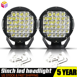 2x 9inch 96w Round Led Work Light Black Spot Driving Headlight Offroad Lamp