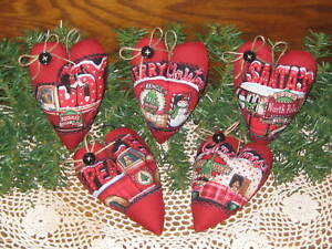 5 Handmade Appliqued Fabric Hearts Bowl Fillers Country Christmas Home Decor