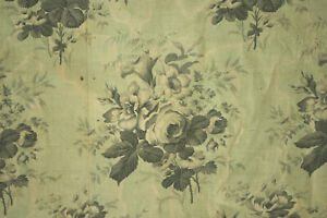 Antique French Printed Chintz Cotton Fabric Mint Green Floral Circa 1850 Roses