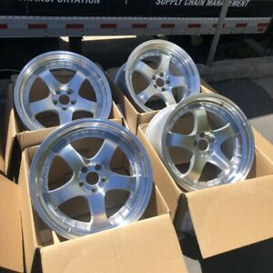 18x9 5 35 Aodhan Ah03 5x100 35 Silver Machined Face Wheels Used Set